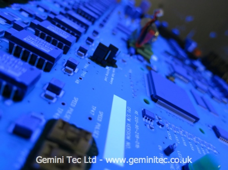 PCB assembly with conformal coating applied by Gemini Tec